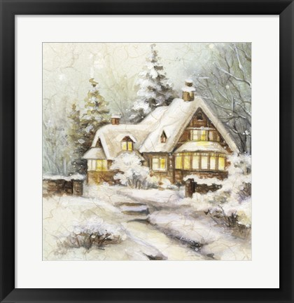 Framed Snow On Winter Cottage Print