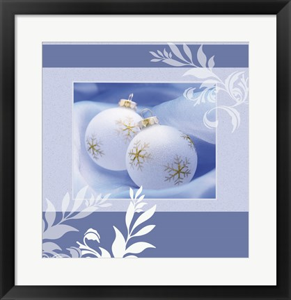 Framed Ornaments Soft Winter Blue Print