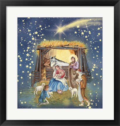 Framed Christmas Manger and Shooting Stars Print