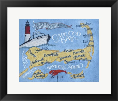 Framed Cape Cod Beach Map Print