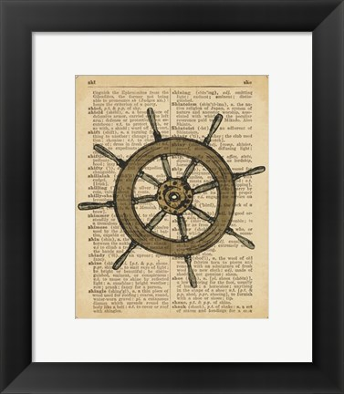 Framed Nautical Series - Ship Wheel Print