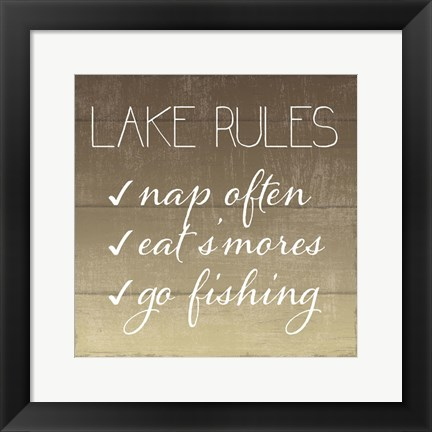 Framed Lake Rules Print