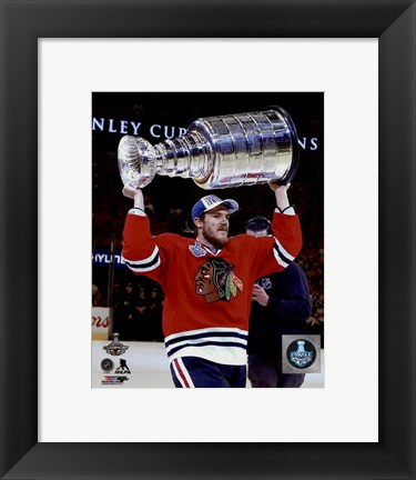 Framed Andrew Shaw with the Stanley Cup Game 6 of the 2015 Stanley Cup Finals Print