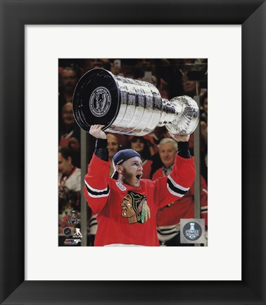 Framed Patrick Kane with the Stanley Cup Game 6 of the 2015 Stanley Cup Finals Print