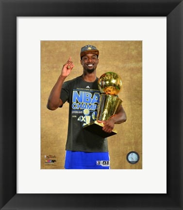 Framed Harrison Barnes with the NBA Championship Trophy Game 6 of the 2015 NBA Finals Print