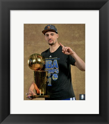 Framed Klay Thompson with the NBA Championship Trophy Game 6 of the 2015 NBA Finals Print