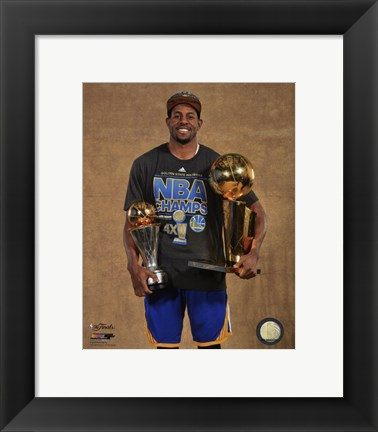 Framed Andre Iguodala with the MVP & NBA Championship Trophies Game 6 of the 2015 NBA Finals Print