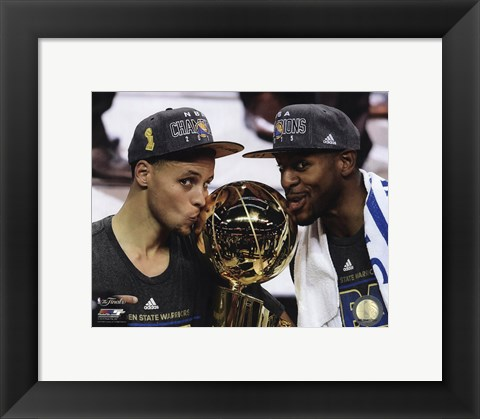 Framed Stephen Curry & Andre Iguodala with the NBA Championship Trophy Game 6 of the 2015 NBA Finals Print