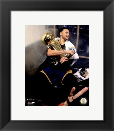 Framed Stephen Curry with the NBA Championship Trophy Game 6 of the 2015 NBA Finals Print