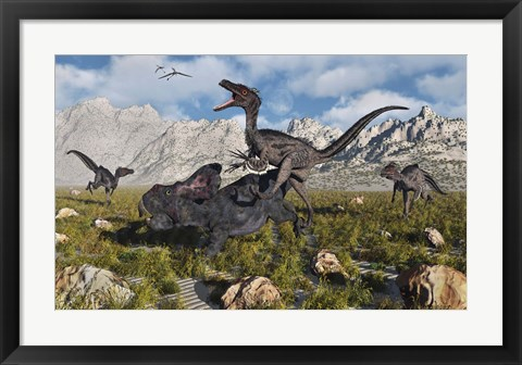 Framed Pack of Velociraptors Print