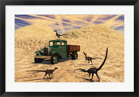 Framed Velociraptors React Curiously to a 1930's American Pickup Truck Print