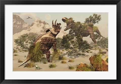 Framed Living fossils of a Triceratops and a T-Rex Confronting Each Other Print