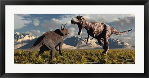 Framed T- Rex and Triceratops meet for a Battle 4 Print