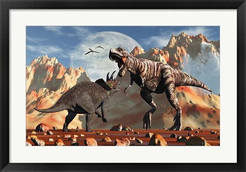 Framed T- Rex and Triceratops meet for a Battle 2 Print
