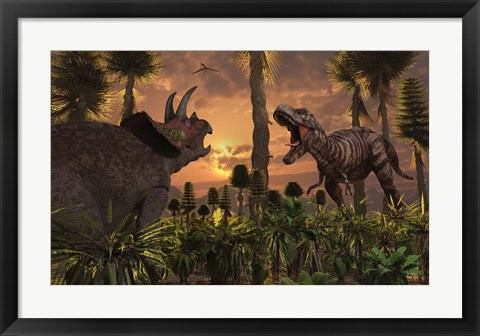 Framed T- Rex and Triceratops meet for a Battle 1 Print