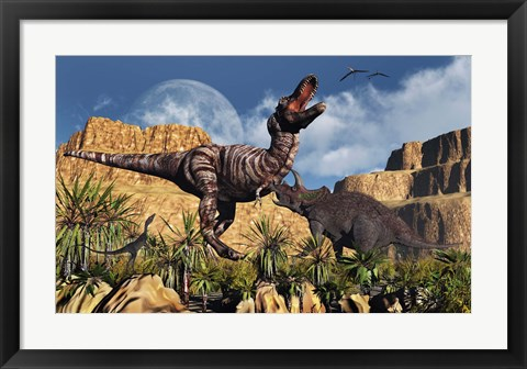 Framed Confrontation between Tyrannosaurus Rex and Triceratops Print