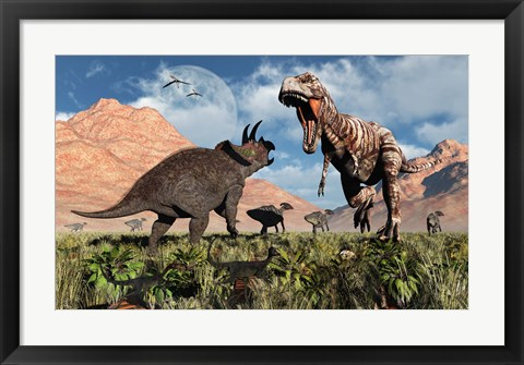 Framed Prehistoric battle between a Triceratops and Tyrannosaurus Rex Print