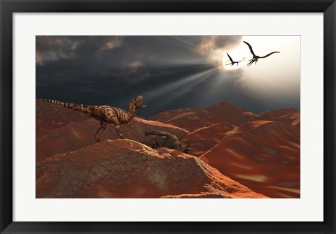 Framed T Rex and Quetzalcoatlus Discover the Carcass of a Triceratops Print