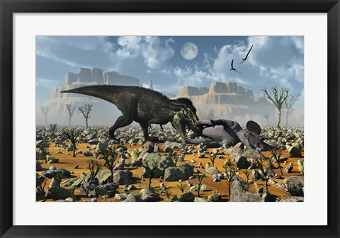 Framed T-Rex feeding on a Triceratops Carcass Print