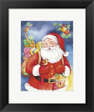 Framed Santa's Christmas Bird Help Print