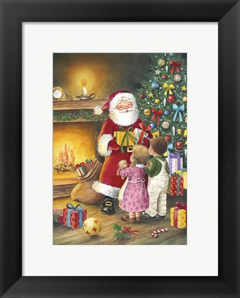 Framed Children Meet Santa Print