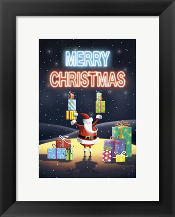 Framed Merry Christmas In Neon From Santa Print