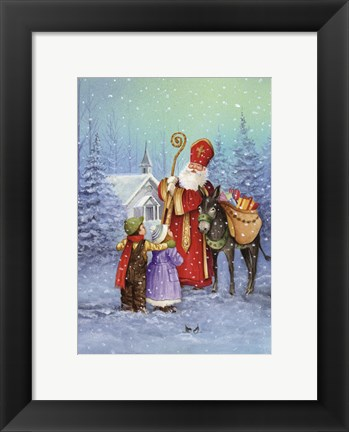 Framed Saint Nicholas And His Donkey Print