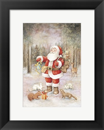 Framed Santa's Winter Forest Delivery Print