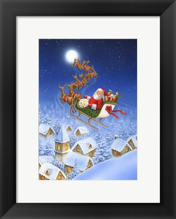 Framed Reindeer In The Night Sky Print