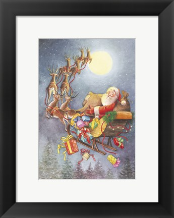 Framed Santa Flying Through The Night Print