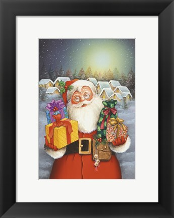 Framed Santa's Christmas Presents Print