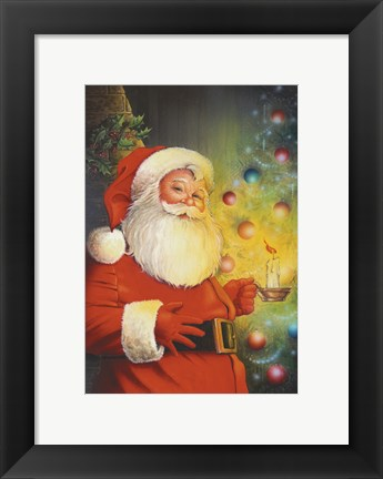 Framed Santa By The Tree Print