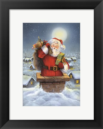 Framed Santa Down The Chimney Print