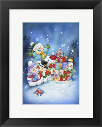 Framed Snowman Family Gifts Print
