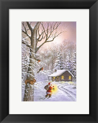 Framed Santa's Traveling Light Print