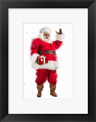 Framed Santa's Red Present Print