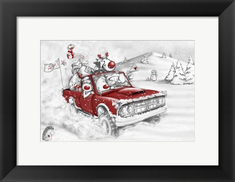 Framed Reindeer And All In The Red Truck Print