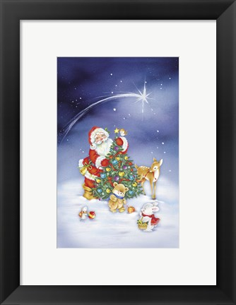 Framed Santa's Christmas Tree And Friends Print
