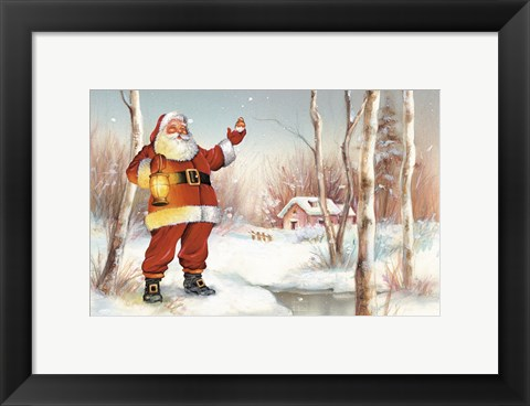 Framed Santa's Feathered Friend Print