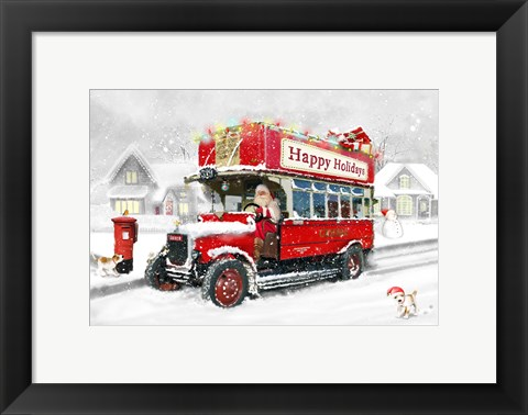 Framed Santa's Happy Holiday Bus Print