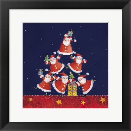 Framed Santas Tipping For One Last Gift Print