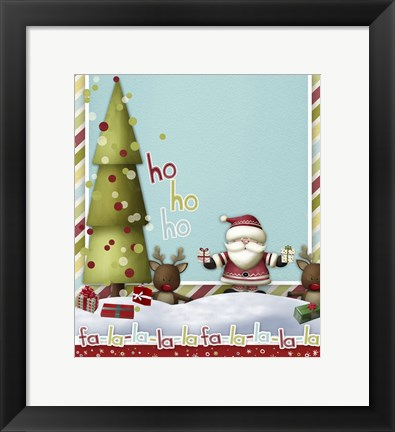 Framed Fa La La From Santa And Reindeer Print