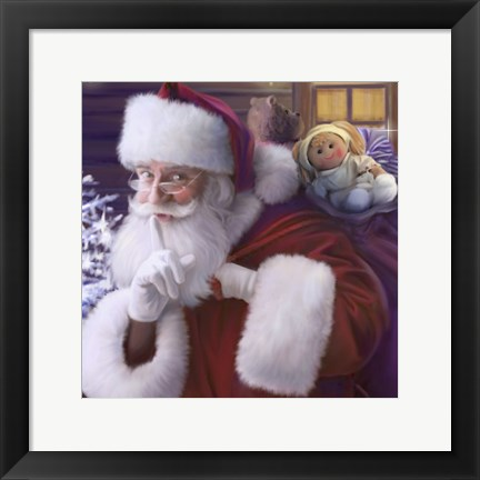 Framed Shhh Santa's Doll And Bear Print