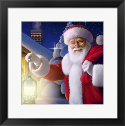 Framed Santa's Greeting Light Print