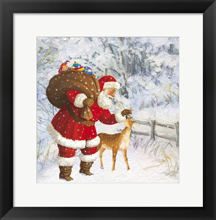 Framed Santa And The Fawn Print