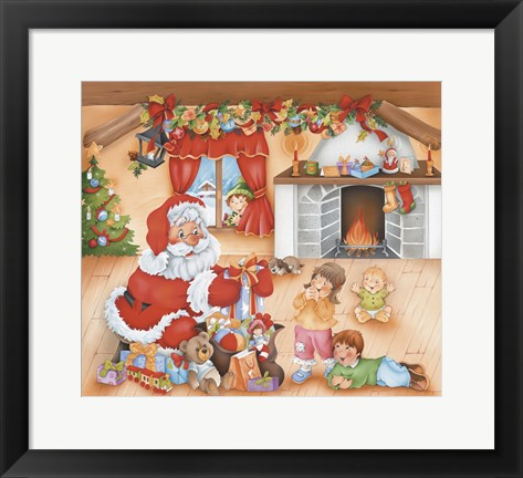 Framed Santa's Gifts For The Kids Print