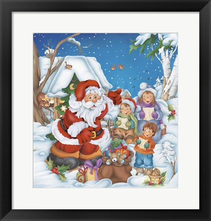 Framed Santa Directs The Carolers Print