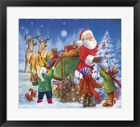 Framed Santa And The Children Decorating Print
