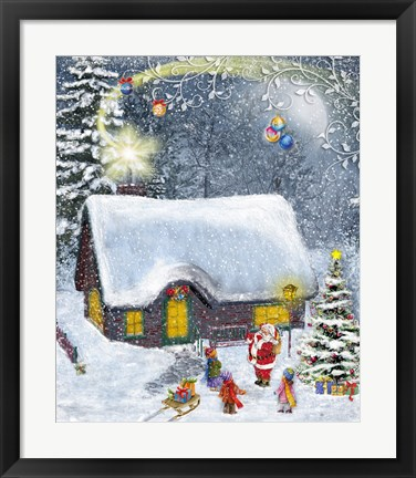 Framed Santa's Shooting Star Print