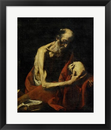 Framed Saint Jerome Meditating Print